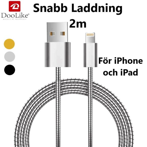2 Meter Lightning laddkabel Metal Doolike till iPhone